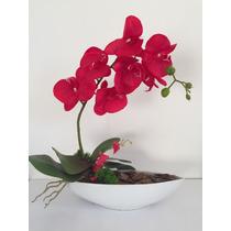 Arranjo De Orquídea Artificial Com Vaso Canoa De Porcelana