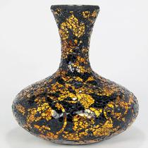 Vaso Mosaico De Vidro Floral Amarelo E Preto 25cm - Bu048