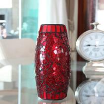 Vaso Em Mosaico De Vidro Vermelho Estilo Craquelado - Bu052
