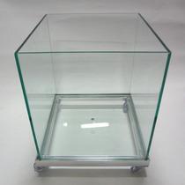 Vasos De Vidro Cachepot Incolor 30x30 Com Rodinha De Silicon
