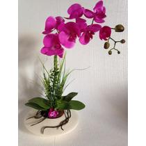 Arranjo De Orquídea Purpura Em Silicone Artificial