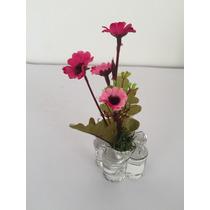 Mini Arranjo De Flores Artificiais, Em Base De Flor De Vidro