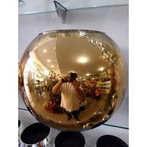 Vaso Aquario Cachepot Espelhado Dourado Vidro