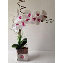 Arranjo De Orquídea Branca Artificial Com Vaso De Vidro
