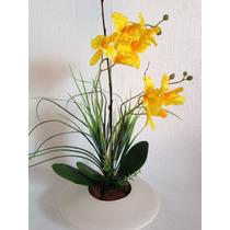 Arranjo De Orquídea Amarela Artificial