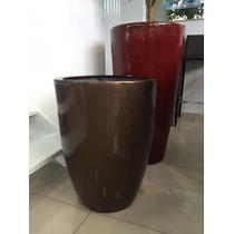 Vaso / Cachepot Em Fibra Estilo Cerâmica Vietnamita Bronze