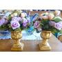 Par De Vaso Decorado Com Flores Lilas E Rosa