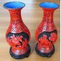 A9128 Par De Vasos Chineses Em Relevo Feito A Mão, Diau Gi,