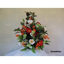 Arranjo Floral - Flores Artificiais De Seda - Camélias