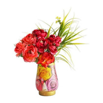 Arranjo Floral Rosas De Madrid Em Vaso De Decoupage