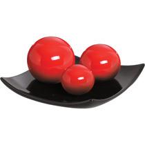 Centro De Mesa Ceramica Grande 03 Esferas Preto E Vermelho