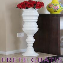 Vaso Em Cerâmica Branco Raso Estilo Pedestal - Bu087