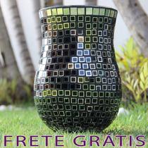 Vaso Em Mosaico De Vidro Quadriculado - Bu031