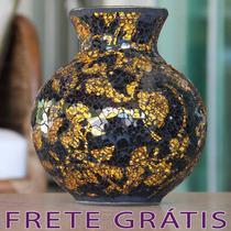 Vaso / Pote Em Mosaico De Vidro Preto E Amarelo - Bu050