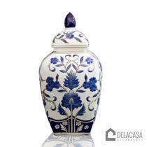 Vaso/potiche Decorativo De Porcelana Azul/branco Fl11-230