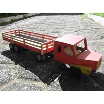 Caminhão Antigo De Madeira Brinquedo Antigo E Raro