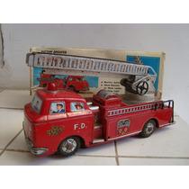Antigo Caminhão De Bombeiros De Lata Na Caixa Original Japão
