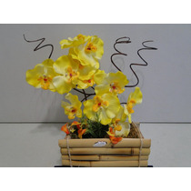 Arranjo Cachepot Flor Artificial Vaso Orquidea 30x37cm