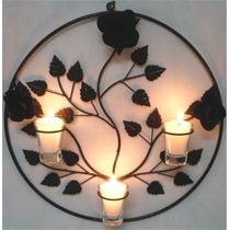 Mandala 3 Rosas Decoração Parede Flor Ferro Velas Arandela