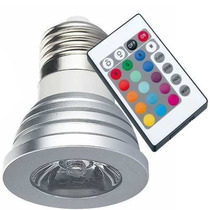 Kit 5 Lâmpada Rgb Led Spot E27 3w Bivolt 16 Cores Controle