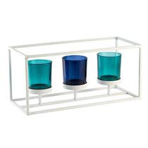 Conjunto Com 3 Porta Velas Em Vidro E Suporte Metálico