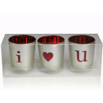 Kit 3 Porta Vela Metalico Vidro Acende Letras I Love You !!