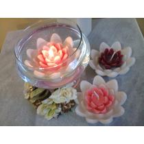 Vela Flor De Lotus Grande Para Piscina - Kit Com 5 Und