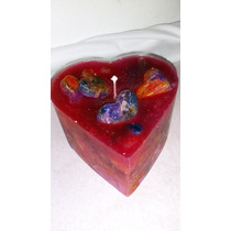 Vela Artesanal Decorativa Coração Grande Colorida