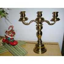 Castiçal De Bronze E Latão Dourado Para 3 Velas