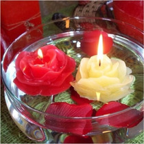 Velas Decorativas Rosas Flutuantes P/ Piscina 6 Unidades