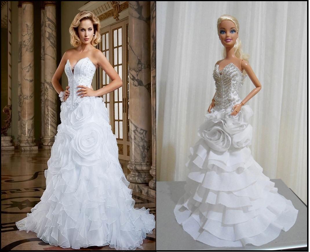 Barbie Noiva ~ Vestido De Noiva Miniatura P Boneca Barbie personalizç u00e3o R$ 150,00 no MercadoLivre