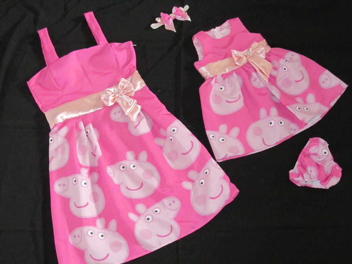 Vestido Peppa Pig Rosa Mae E Filha - R$ 230,00 no MercadoLivre