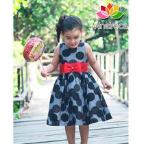 Vestido De Festa Infantil Cinza E Laço Vermelho 1 Ano