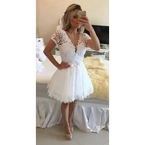 Vestido Renda Perolas E Tule - Formatura Noiva Casamento