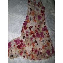Vestido Crepe De Seda Estampa Borboleta Floral Tamanho M