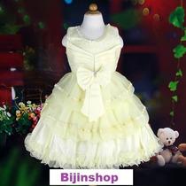 Vestido Infantil Festa Branco Ou Amarelo Com Strass