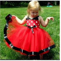 Vestido Vermelho Festa Minnie - Infantil - Pronta Entrega