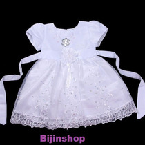 Vestido Infantil Festa/princesa/batizado Todo Bordado