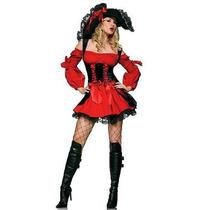 Fantasia Feminina Pirata Vermelha Luxo Pronta Entrega