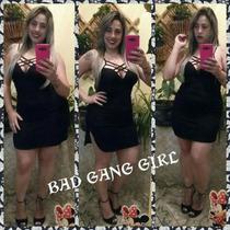 Vestido Preto Com Bojo Decotado Curto Panicat Bad Gang Girls