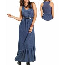 Vestido Longo Azul Jeans Sem Mangas Casual Promoção!