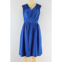 Suzi Chin Cap Sleeve V Neck Vestido De Cetim Azul Da Porcela