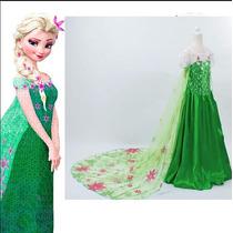 Fantasia Vestido Frozen Fever Elsa Luxo Pronta Entrega
