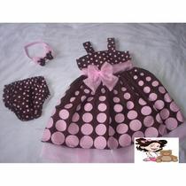 Vestido Infantil Marrom De Bolas Rosas