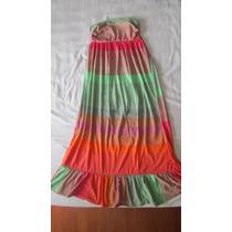 Vestido Longo Colorido Listrado - M