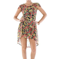 Vestido Belle & Bei Em Chifon Bordado Colorido- Frete Grátis