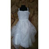 Vestido Infantil Azul Princesa/daminha Flores Em Branco