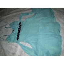 Vestido Crepe De Seda Turquesa Tamanho M