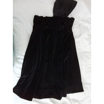 Vestido Lindo Spezzato Teen M Veludo Um Ombro Só Preto Curto