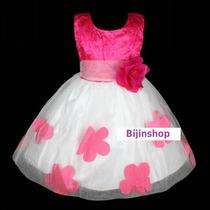 Vestido Infantil Festa Bco/rosa, Bco/pink, Bco/vermelho 4,6
